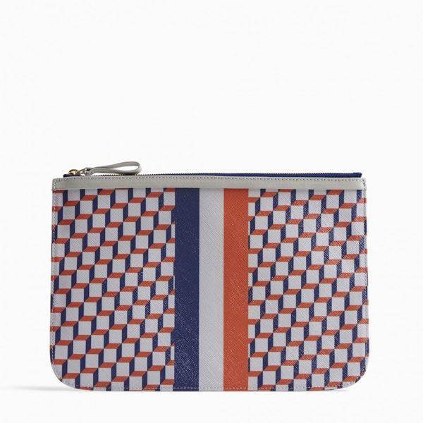 White & blue PIERRE HARDY PERSPECTIVE CUBE STRIPES LARGE POUCH Factory Outlet