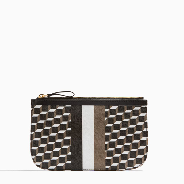 Black & white PIERRE HARDY PERSPECTIVE CUBE STRIPES MEDIUM POUCH Factory Outlet
