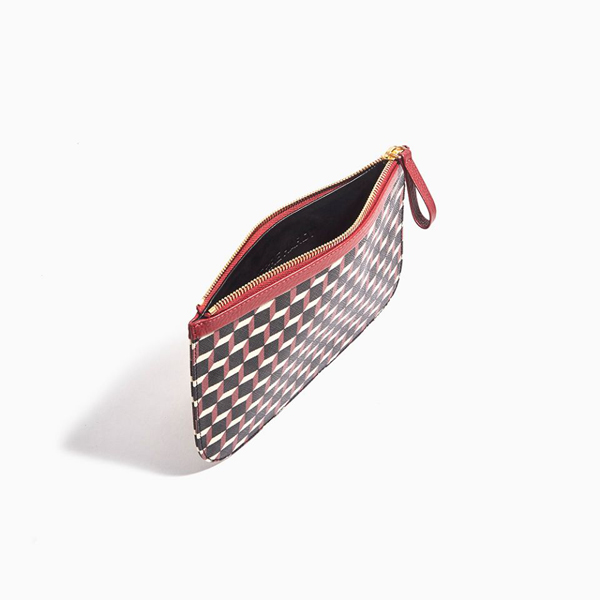 black & red PIERRE HARDY PERSPECTIVE CUBE GRAIN MEDIUM POUCH Factory Outlet