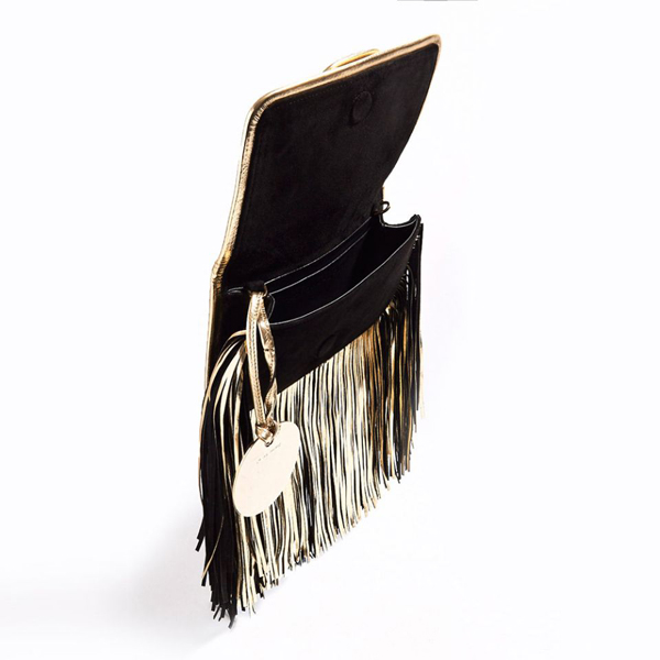 BLACK CHAMPAGNE PIERRE HARDY ALPHA FRINGE CLUTCH Factory Outlet