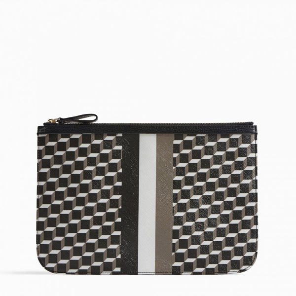 Black white PIERRE HARDY PERSPECTIVE CUBE STRIPES LARGE POUCH Factory Outlet