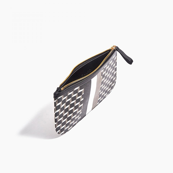 BLACK PIERRE HARDY PERSPECTIVE CUBE STRIPES MEDIUM POUCH Factory Outlet
