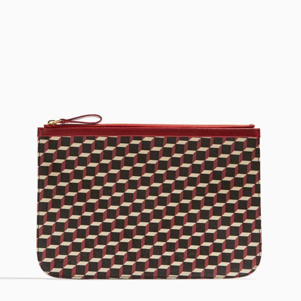 RED PIERRE HARDY PERSPECTIVE CUBE GRAIN LARGE POUCH Factory Outlet