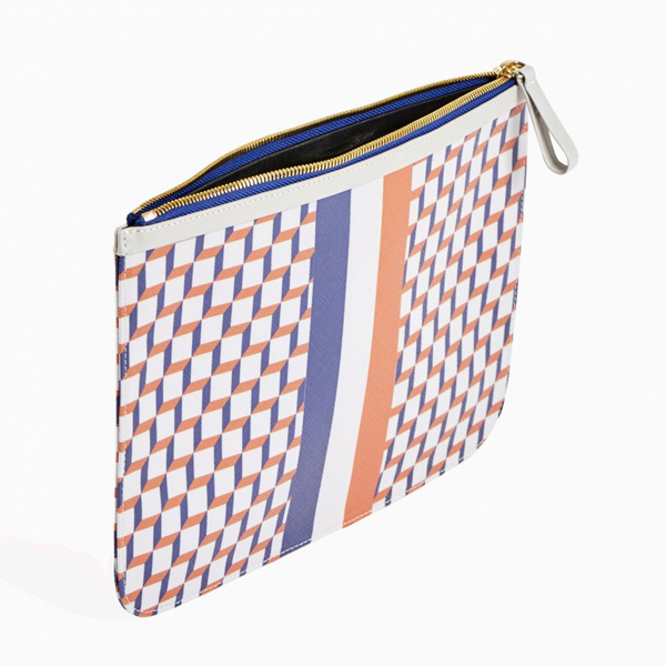 White & blue PIERRE HARDY PERSPECTIVE CUBE STRIPES EXTRA LARGE POUCH Factory Outlet