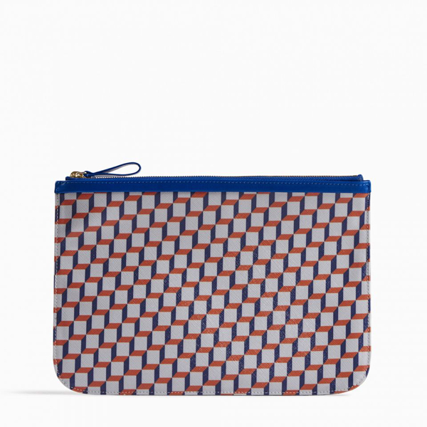 White blue PIERRE HARDY PERSPECTIVE CUBE LARGE POUCH Factory Outlet