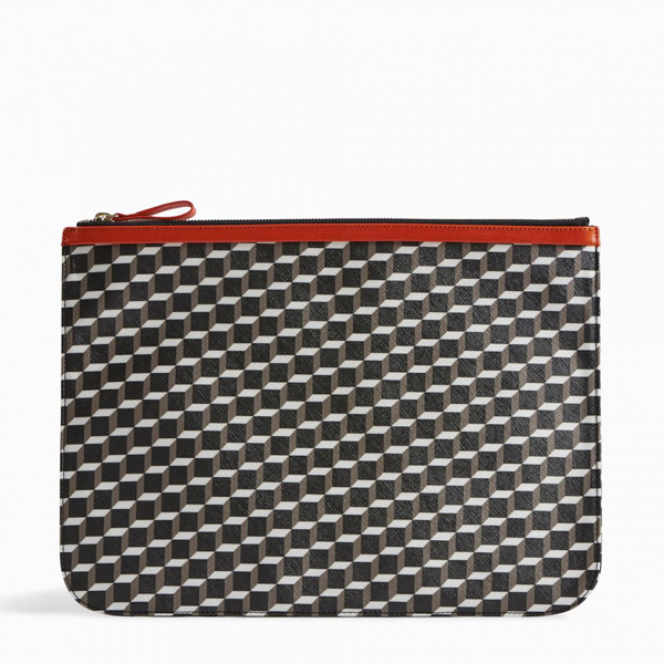 White black PIERRE HARDY PERSPECTIVE CUBE LARGE POUCH Outlet Online