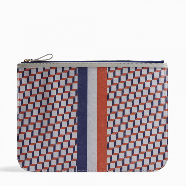 White blue PIERRE HARDY PERSPECTIVE CUBE STRIPES EXTRA LARGE POUCH Outlet Online