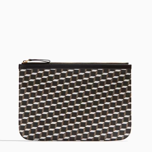 BLACK WHITE BLACK PIERRE HARDY PERSPECTIVE CUBE LARGE POUCH Outlet Online