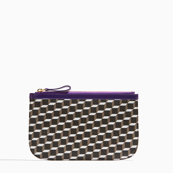 BLACK WHITE PURPLE PIERRE HARDY PERSPECTIVE CUBE LAMB MEDIUM POUCH Outlet Online