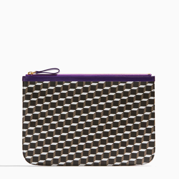 BLACK WHITE PURPLE PIERRE HARDY PERSPECTIVE CUBE LARGE POUCH Outlet Online