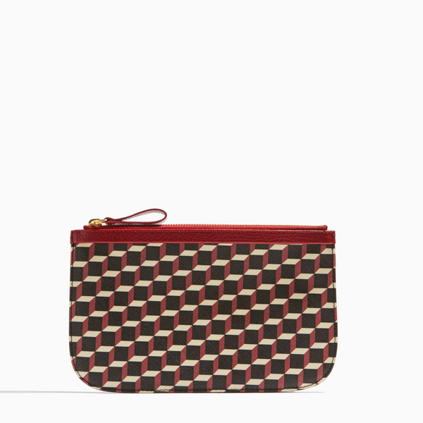 RED PIERRE HARDY PERSPECTIVE CUBE GRAIN MEDIUM POUCH Outlet Online