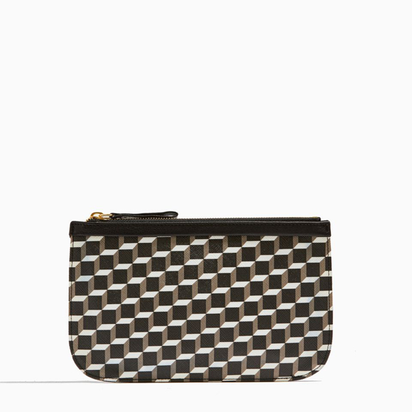 BLACK WHITE BLACK PIERRE HARDY CUBE PERSPECTIVE MEDIUM POUCH Outlet Online